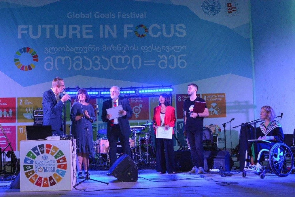 The United Nations Goodwill Ambassadors are presented in Rustavi Park