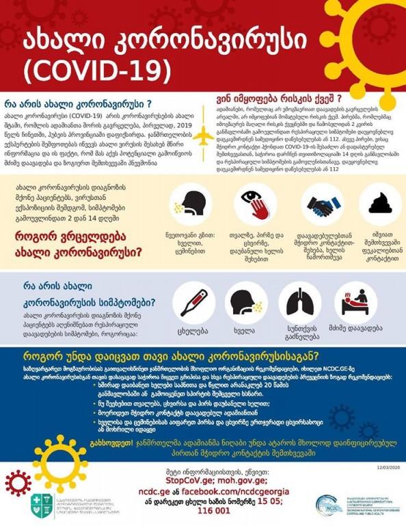 ახალ კორონავირუსთან (COVID-19) დაკავშირებული რეკომენდაციები